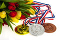 Gold silver and bronze for the dutch golden medaille team in sotchi Stock Photos