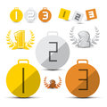 Gold silver bronze first second and third place vector medals icons set Royalty Free Stock Photos