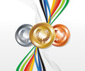 Gold, silver and bronze medal with ribbons Stock Image