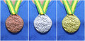 Gold Silver Bronze Medals on Athlete Royalty Free Stock Photo