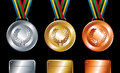Gold, silver and bronze medals background Stock Images