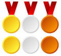 Gold silver bronze medals badges and vector trophy winners top places and honor or award concepts Stock Photo
