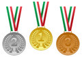 Gold silver bronze medals set collection of and with tricolor ribbons isolated on white background Stock Photo