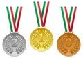 Gold Silver Bronze Medals Set