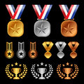 Gold silver bronze medals , Trophy Cup Olive leaf , start award vector set design Royalty Free Stock Photo
