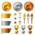 Gold silver bronze medals , Trophy Cup , start award and torch and tag banner vector set design