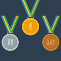Gold, silver, bronze medals Royalty Free Stock Photo