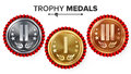 Gold, Silver, Bronze Place Badge, Medal Set Vector. Realistic Achievement With First, Second, Third Placement. Round Championship