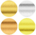 Gold silver and bronze seals or medals with clipping path isolated included Stock Photo