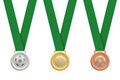 Gold, silver and bronze soccer medals Royalty Free Stock Photo