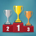 Gold, Silver and Bronze Trophy Cup. Royalty Free Stock Photo