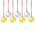 Gold and Silver Christmas Balls Royalty Free Stock Photos
