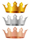 Gold silver copper crown crown Stock Images