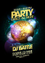 Gold and silver disco balls party design. Royalty Free Stock Photo