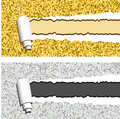 Gold and silver glittering horizontal banners with torn rolled paper stripes. Ripped festive, holidays vector frames Royalty Free Stock Photo
