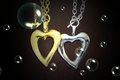 Gold and silver heart Royalty Free Stock Photo