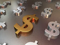 Gold and silver metal floor of dollar signs Royalty Free Stock Photo