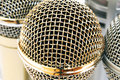 Gold and silver microphones Royalty Free Stock Photo