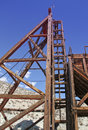 Gold and silver mine shaft head frame vintage wooden for desert queen tonopah nv Stock Photos