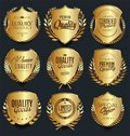 Gold and silver shields laurel wreaths and badges