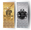 Gold and silver VIP invitation cards with floral design background, crowns and vintage frames. Royalty Free Stock Photo