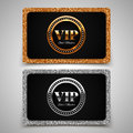 Gold and silver vip premium member cards with glitter gift voucher certificate vector illustration Royalty Free Stock Photography