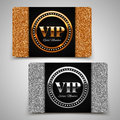 Gold and silver vip premium member cards with glitter gift voucher certificate vector illustration Stock Images