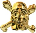 Gold Skull and Cross Bones Stock Images
