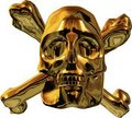 Gold skull and cross bones Stock Photos