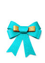 Gold and skyblue ribbon isolated on white clipping path background Royalty Free Stock Photo