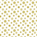 Gold snowflake seamless pattern. Beautiful Christmas background. Royalty Free Stock Photo