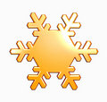 Gold snowflake on white Stock Photo