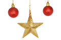 Gold star and baubles christmas red isolated against white Royalty Free Stock Images