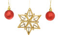 Gold star and baubles glitter christmas red isolated against white Stock Photography