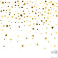 Gold star confetti rain festive holiday background. Vector golde Royalty Free Stock Photo