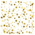 Gold star confetti rain festive holiday background. Vector golden paper foil stars falling down isolated on white background Royalty Free Stock Photo