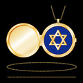 Gold Star of David Locket Royalty Free Stock Photo