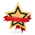 Gold star emblem with empty label Royalty Free Stock Photos