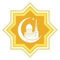 Gold star with islamic mosque