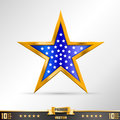 Gold star label art creative vector illustration Stock Image