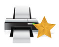 Gold star review concept illustration design over white Royalty Free Stock Images