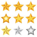 Gold star set Stock Photos