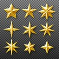 Gold star set isolated on transparent background. Vector realistic decoration Royalty Free Stock Photo
