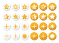 Gold stars round icons set winter christmas labels and sparkles Royalty Free Stock Images