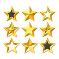 Gold stars set Stock Photos