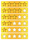 Gold stars star rating done in d Stock Photos