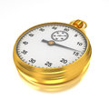Gold stopwatch on the white bg Royalty Free Stock Images