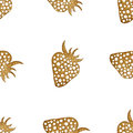 Gold strawberry seamless pattern. Berry hand painted abstract nature background.