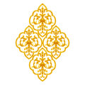 Gold Stucco design of native thai style antique flower Royalty Free Stock Photo
