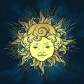 Gold sun with face of cute curly smiling baby boy over blue sky background. Hand drawn sticker, fabric print or boho flash tattoo